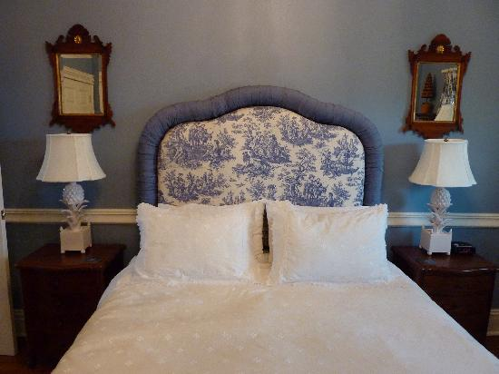 The Grange at Stag Hollow: Blue Room bed on a cloud