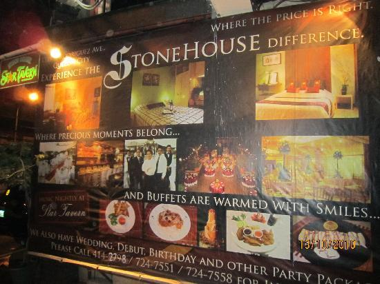 Stone House Quezon City: Stone House advertising board