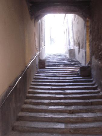 A steep stairway in Cortona