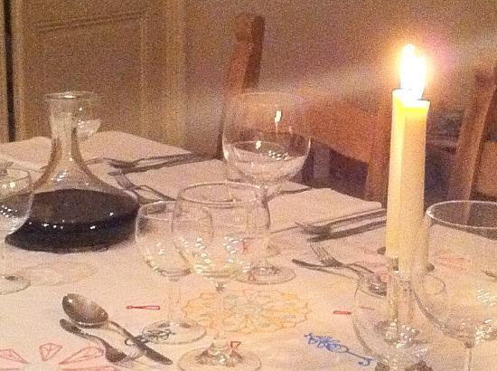 Les Marguerites : The table set for dinner.