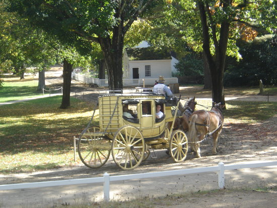 Stage coach around the village green