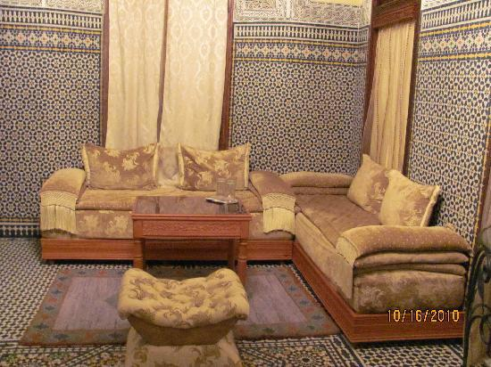 Riad Jaouhara: the sitting room of our suite