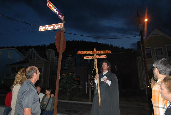 Park City Ghost Tours: You're DOOMED! Hutch tells stories on Park City's Main Street.