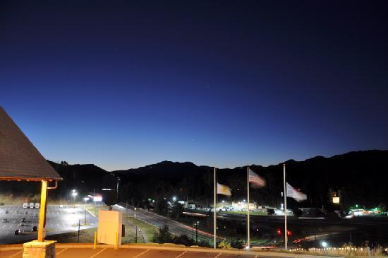 Super 6 - Waynesville: Balcony view at dusk.