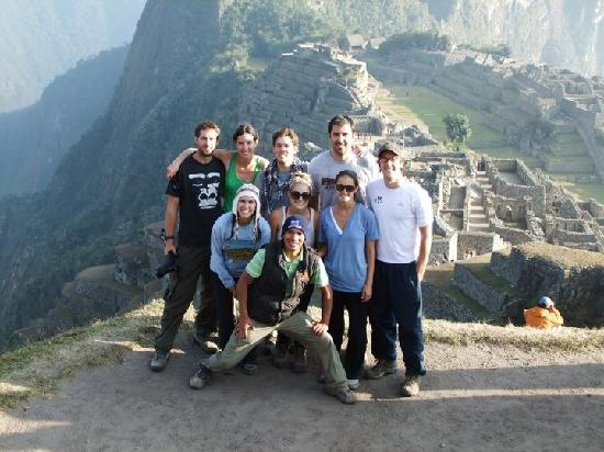 Our group with our Enigma guide, Fredy, in front of Machu Picchu