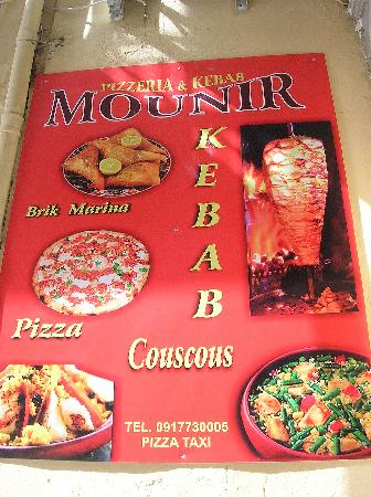 Mounir - Pizzeria & Kebab: El cartel del local