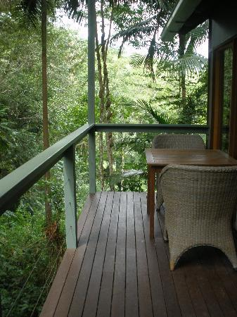 Crystal Creek Rainforest Retreat: The deck where we ate breakfast each day