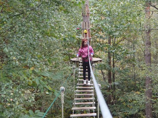 Go Ape at Leeds Castle: Running across the bridge