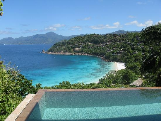 Four Seasons Resort Seychelles: view from our villa - outside rain shower