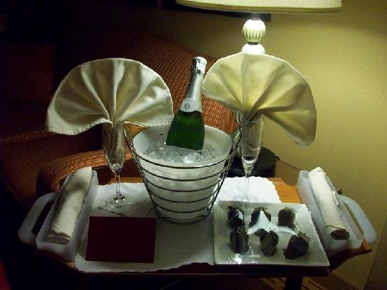 Chicago Marriott Suites Deerfield: Champagne and chocolate covered strawberries brought up to our room for our 1st anniversary