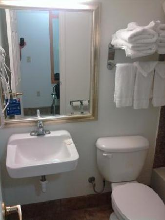 Studio 6 Lubbock Medical Center: Sink belongs in a gas station restroom, and things could be a bit cleaner.