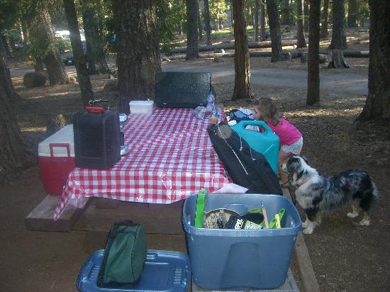 Cherry Hill Campground : Daughter and picnic table
