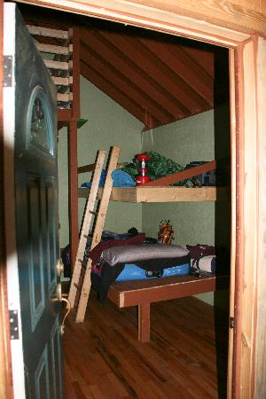 Maple Tree Campground: Entering Tree House, view of 2 of the large bunks.