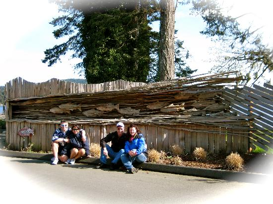 The 4 of us infront of the Boat Launch area of Sooke Harbour Resort and Marina
