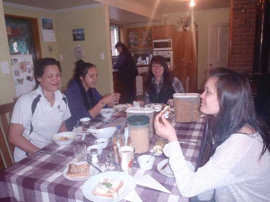 Bluewaves Homestay: wonderful fresh fruit with cereal, followed by poached eggs on toast for breakfast - yummy!