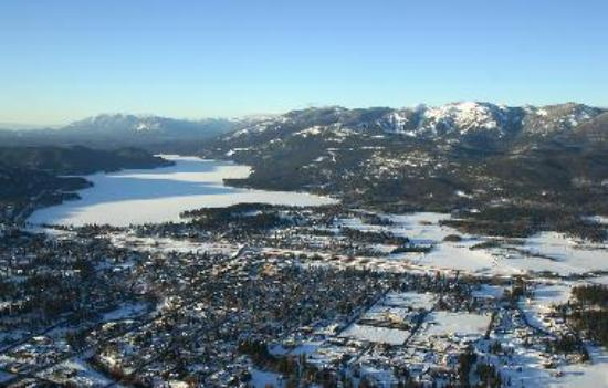 Aerial view of Whiefish, Montana in winter. Copyright Brian Schott.