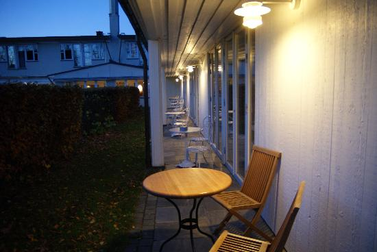 Villa Kallhagen: The patio of the suite. Exterior of hotel.