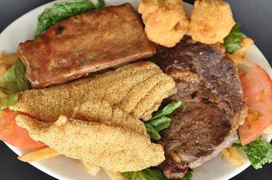 Salty Oyster Grill: Field 'n Stream Platter-- Award Winning Catgfish Fillets, Ribs, and a Ribeye Steak