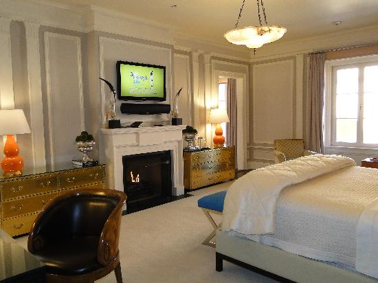Glenmere Mansion: television and fireplace in Princess Suite