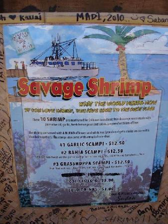 Savage Shrimp: The Menu