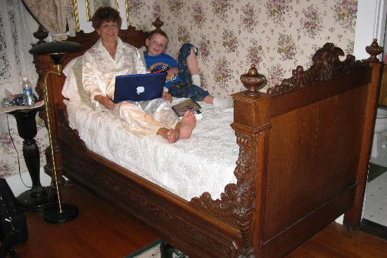 Caribou, ME: My grandson and me in the Rose Room, taking advantage of the wi-fi to put pictures on ancestry.c
