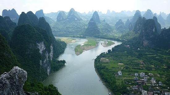 View down the river at Xingping, Guilin