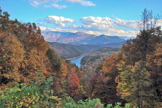 PaddleFish Kayaking - Private Day Trips: Fontana Lake from overlook on The Road To Nowhere