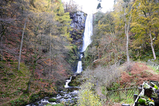 Llanrhaeadr ym Mochnant, UK: Pistyll Waterfall in full flow