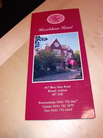 Hazeldean Hotel: leaflet on hotel
