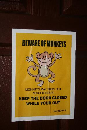 Grand Thekkady : Sign in our room: BEWARE OF MONKEYS!!