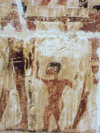 Niankhkhnum and Khnumhotep's Mastaba : A dwarf is  carrying a clothes box on his shoulders