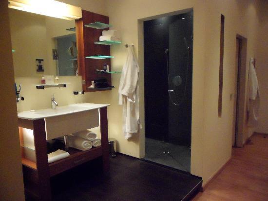 Hotel Rathaus Wein & Design : amazing (but see through) shower