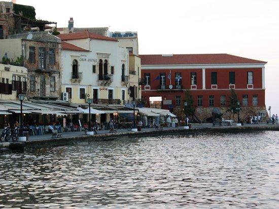 Casa Leone Boutique Hotel : View of Casa Leone from across harbor