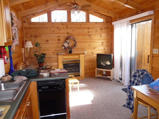 Dock's Motel & Cabins : cabin living room