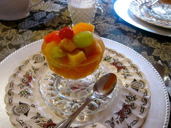 The Saragossa Inn B&B: first course, fruit salad infused with florida orange blossom honey