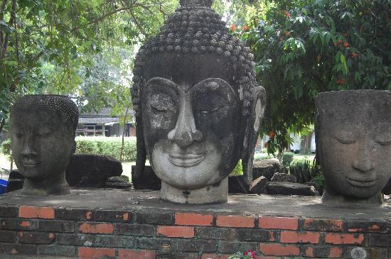 Chao Sam Phraya Museum : Buddha Heads Outside the Museum
