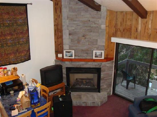 Yosemite West Condominiums: Corner fireplace - we could have done without the TV