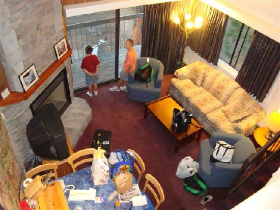 Yosemite West Condominiums: Overall living area as seen from loft