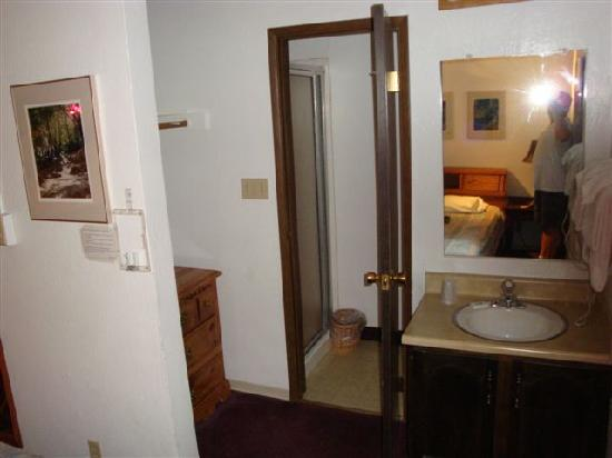 Yosemite West Condominiums: View of closet, shower/toilet, and vanity upstairs