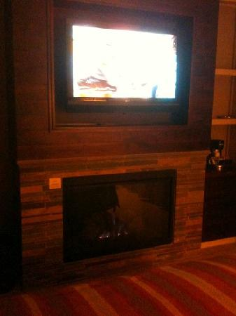 Hotel Abrego: Fireplace under the TV - very romantic room