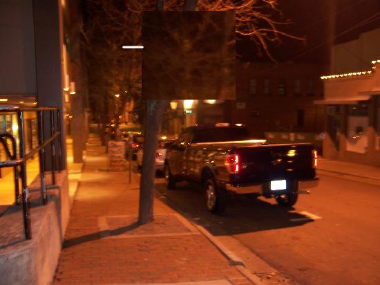 Haunted Asheville Ghost Tours : This photo taken looking down the street, where a workman fell to his death from a scaffolding.