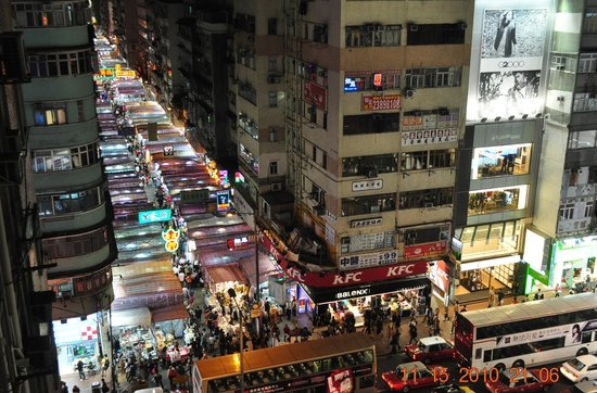 A-Inn: a view of the night market from our room