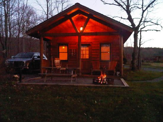 Finger Lakes Mill Creek Cabins: cabin at dusk