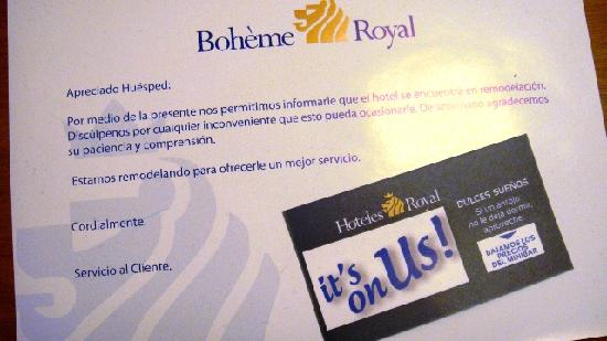 "NH Bogota Boheme Royal: Aviso ""en remodelación"""