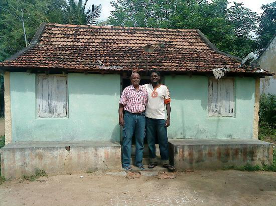 Udhyam Hotel: my son and me,in front of our village house
