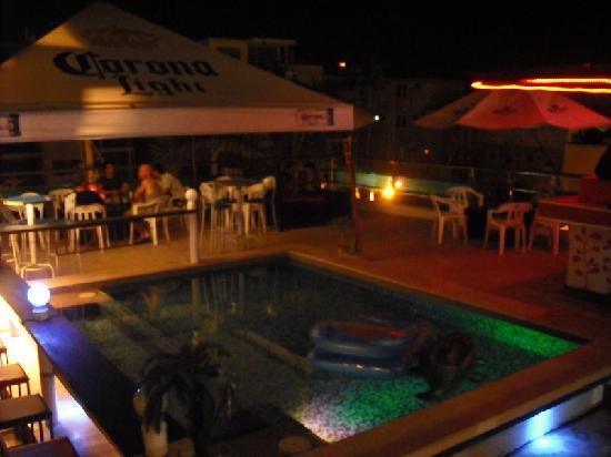 Hostel Rio Playa: Roof top bar and pool at night.