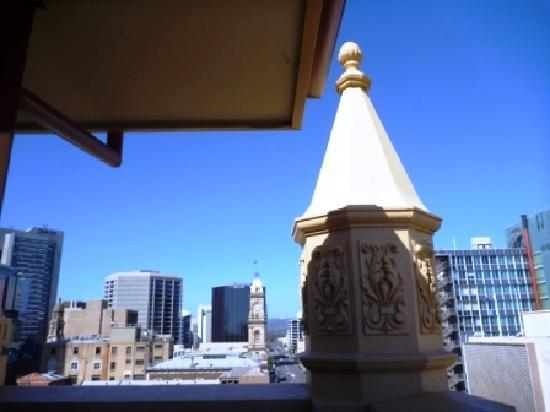 Franklin Central Apartments: View of the city & hills from our top floor apartment's patio
