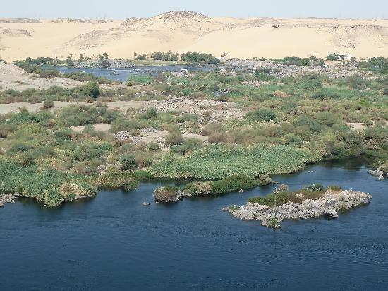 Direct views of the Nile landscape from the balcony of Sara Hotel.