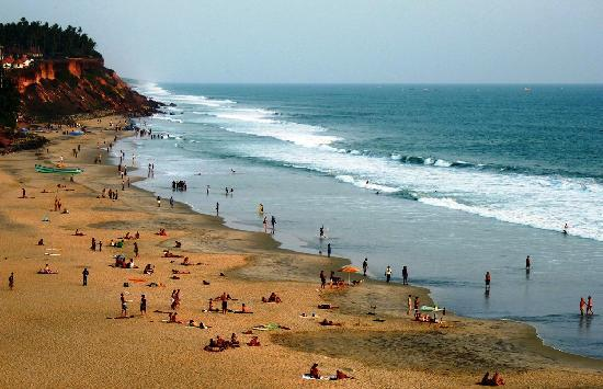 Forign tourists are flocking at Varkala beach
