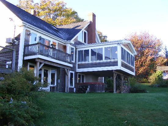 Bridgewater, NH: Rear of house showing breakfast porch